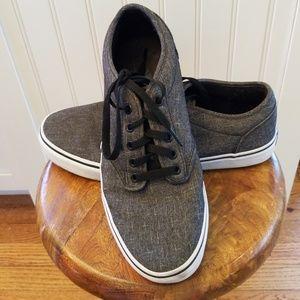 Vans Grey Black Canvas Tennis Shoes